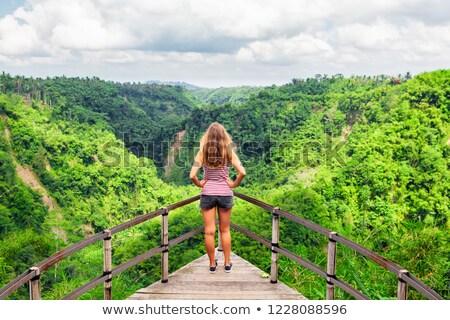 kadın · uçurum · sarı · kapak · doğa · manzara - stok fotoğraf © iko