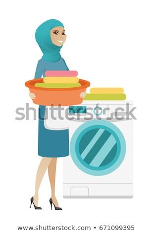 мусульманских домохозяйка стиральная машина прачечной домой Сток-фото © RAStudio