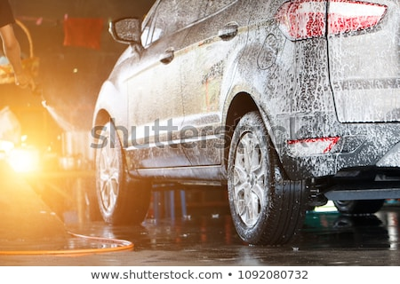 Autó szolgáltatás személyzet takarítás hátsó nézet tükör Stock fotó © wavebreak_media