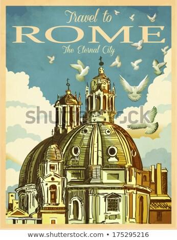 大聖堂 · ローマ · イタリア · 広場 · 噴水 · 空 - ストックフォト © virgin