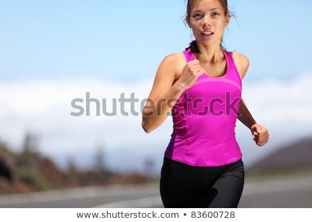 jonge · vrouw · runner · portret · berg · parcours · ontspannen - stockfoto © blasbike