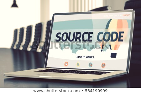 Source Code Programming on Laptop in Conference Hall. 3D. Stock photo © tashatuvango