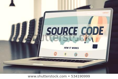 forrás · kód · laptop · képernyő · közelkép · leszállás - stock fotó © tashatuvango