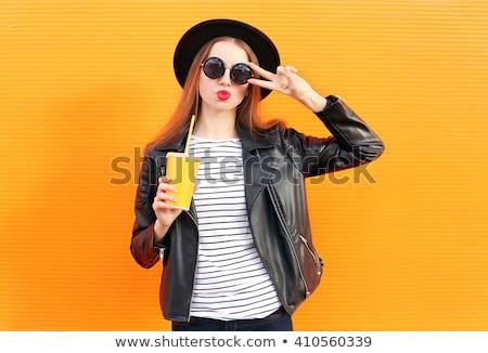 気楽な 十代の少女 サングラス 飲料 オレンジジュース わら ストックフォト © deandrobot