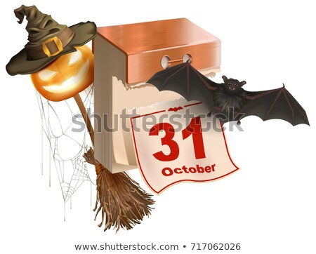 October 31 holiday of Halloween. Tear-off calendar. Halloween accessory pumpkin lantern, bat, broom, Stock photo © orensila