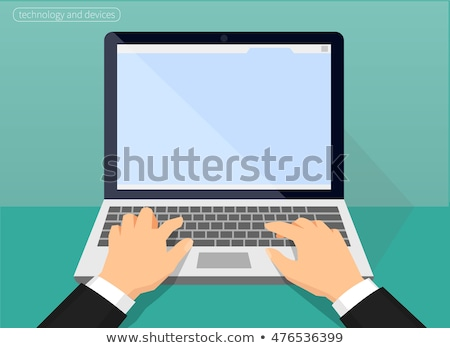 vector illustration of hands with laptop stock photo © sonya_illustrations