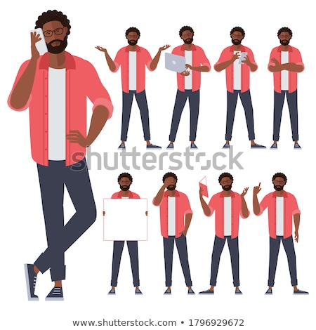Afro-amerikaanse zakenman praten telefoon geïsoleerd witte Stockfoto © NikoDzhi
