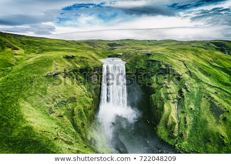 Summer landscape with green grass and mountains in Iceland Stock photo © Kotenko
