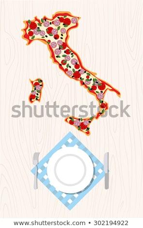 üst görmek İtalyan pizza biçim harita Stok fotoğraf © popaukropa