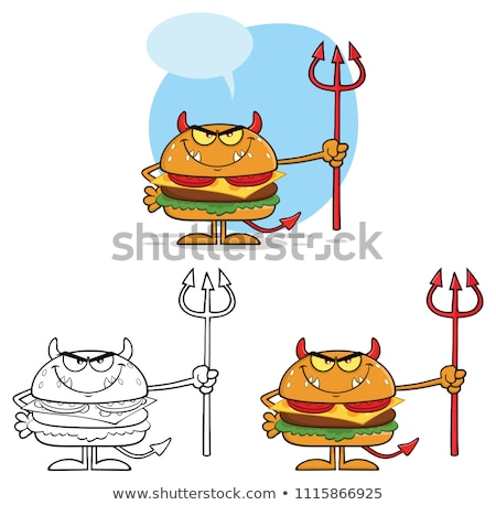 angry devil burger cartoon character holding a trident stock photo © hittoon