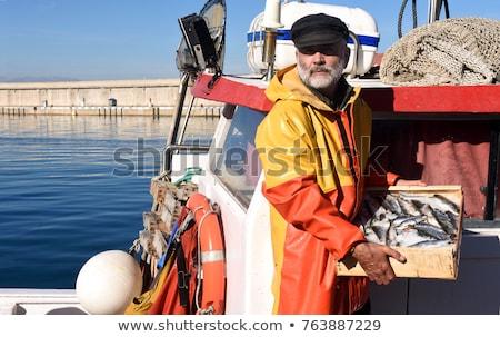 Pescador lago agua naturaleza amanecer pesca Foto stock © mtmmarek