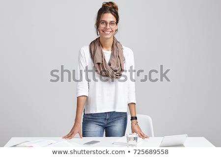 Femenino decorador de interiores diseno de trabajo cortina tela Foto stock © IS2