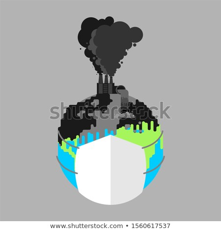 earth in respirator planet in mask from dust contaminated air stock photo © maryvalery