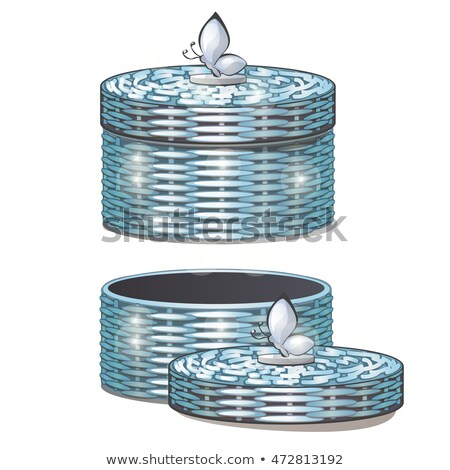 Set of round wicker baskets with lids. Vector illustration. Stock photo © Lady-Luck