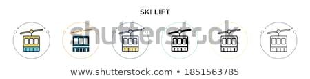 cabin ski cableway emblem vector illustration Stok fotoğraf © konturvid
