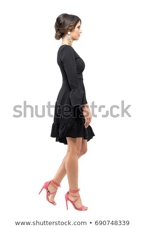 Stylish serious woman in an elegant black dress Stock photo © Giulio_Fornasar