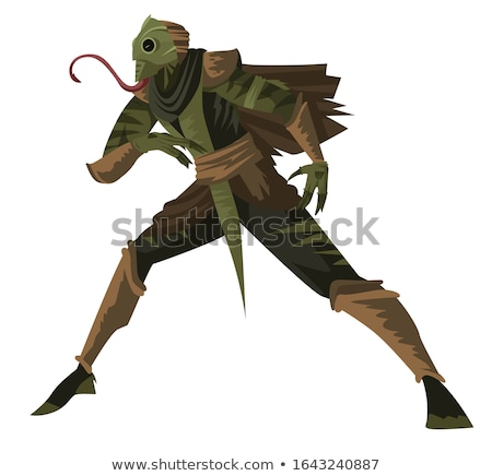 Evil Cartoon Lizard Man Stock photo © cthoman