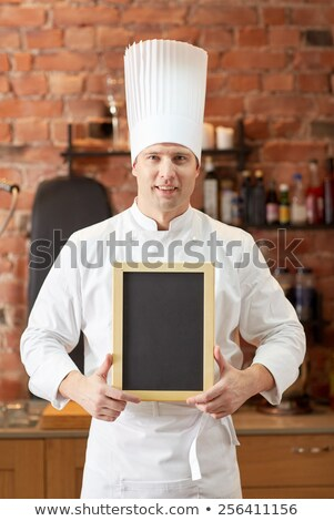 幸せ 男性 シェフ メニュー ボード キッチン ストックフォト © dolgachov