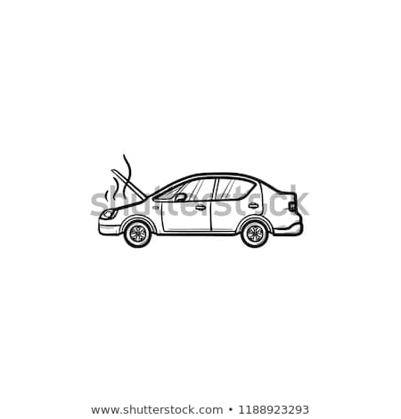 Broken car with open hood and steam hand drawn outline doodle icon. Stock photo © RAStudio