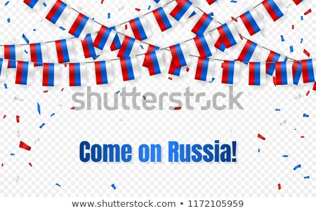 Russia flags garland on transparent background with confetti. Hang bunting for Russian independence  Stock photo © olehsvetiukha