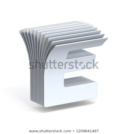 curved paper sheets letter e 3d stock photo © djmilic