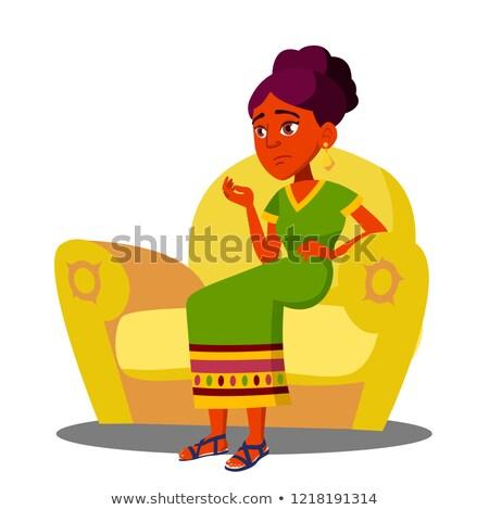 девушки сидят диван сильный брюшной вектора Сток-фото © pikepicture