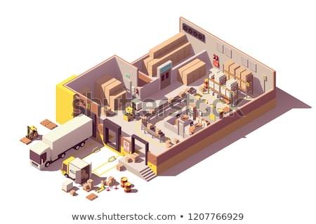 vector isometric low poly warehouse cross section stock photo © tele52