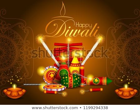 Stock photo: Colorful fire cracker on Happy Diwali background for light festival of India