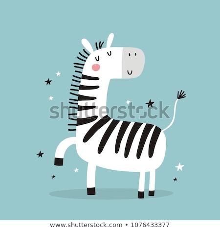 Cartoon zebra liefde illustratie gelukkig Stockfoto © cthoman