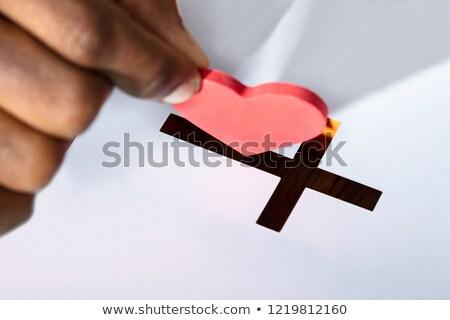 Férfi szív alak feszület rés közelkép kéz Stock fotó © AndreyPopov