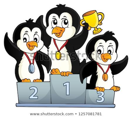 Penguen kazananlar görüntü mutlu sanat kuşlar Stok fotoğraf © clairev