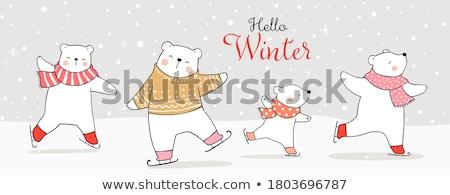 jegesmedve · medvebocs · aranyos · áll · hó · fedett - stock fotó © cienpies
