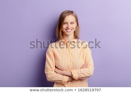 portret · młoda · dziewczyna · makijaż · stałego · odizolowany - zdjęcia stock © deandrobot