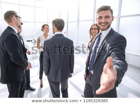 aperto · de · mão · escritório · reunião · empresário · assinar - foto stock © Minervastock