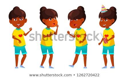 Hint kız çocuk ayarlamak vektör Stok fotoğraf © pikepicture