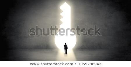 Işadamı ayakta büyük anahtar deliği tek başına iş Stok fotoğraf © ra2studio