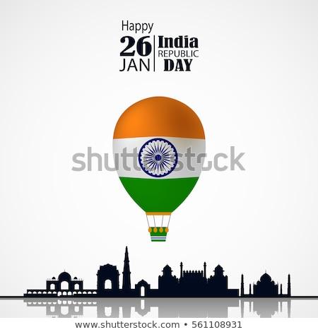 Happy republic day India greeting card air balloon Stock photo © orensila