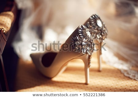 beautiful white shoes from bride with garter Stock photo © ruslanshramko