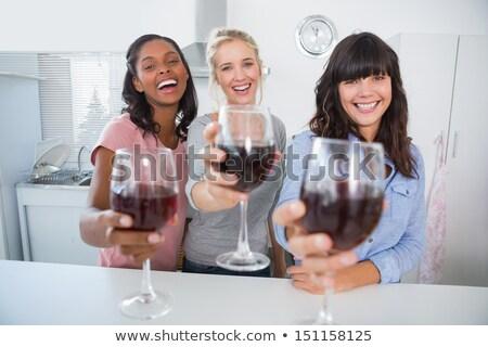 starszy · kobieta · szkła · wino · czerwone · domu · ludzi - zdjęcia stock © dashapetrenko