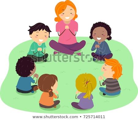 Stock fotó: Gyerekek · tanár · ima · illusztráció · imádkozik · kint