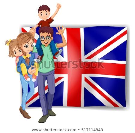 Brit család zászló illusztráció gyermek háttér Stock fotó © colematt