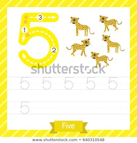 Number five tracing worksheets Stock photo © colematt