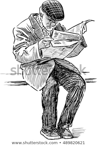 Old Man with Newspaper in Hands on Bench Vector Stock photo © robuart