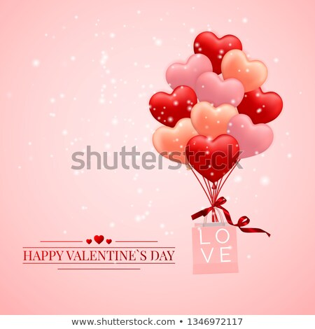 Stock photo: Happy Valentines Day background, red balloon in form of heart with bow and ribbon and Paper shopping