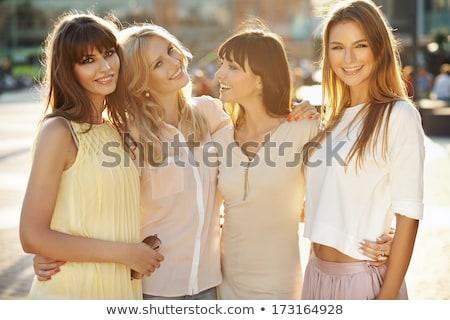 Stock fotó: Kettő · gyönyörű · nők · pihen · bent · aranyos