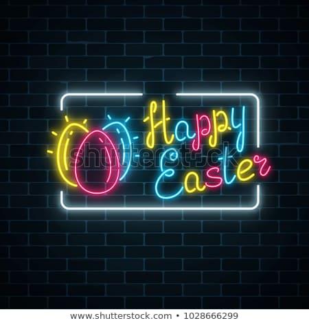 Stock fotó: ünnepel · húsvét · neon · címke · szezonális · ünnep