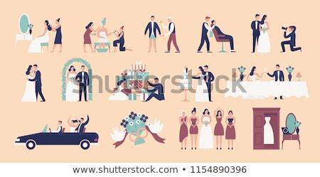 Foto stock: Casamento · vetor · ilustrações · conjunto · paparazzi · celebração