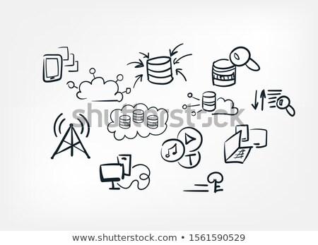 cloud database hand drawn outline doodle icon stock photo © rastudio