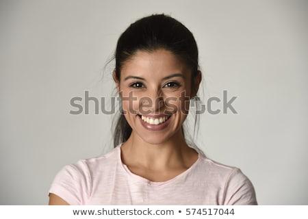 очаровательный Nice улыбка изолированный серый Сток-фото © studiolucky
