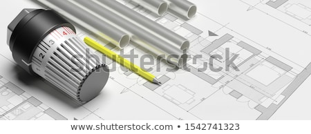 Fűtés radiátor termosztát szelep csatolva barna Stock fotó © magraphics